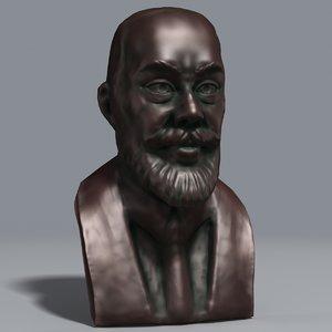 3d model bronze bust nobel