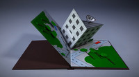 3d model of popup book