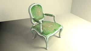 3d model louis xv armchair