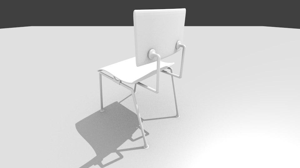 wooden school chair 3ds