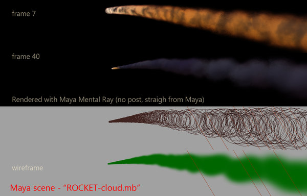 rocket smoke trail 3d model