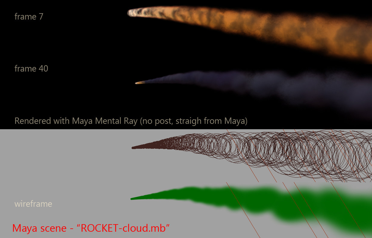 rocket smoke trail 3d model