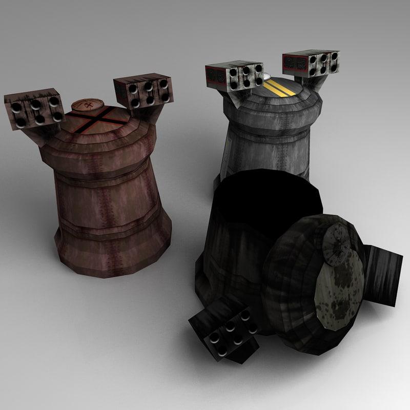 unity rocket turret 3d ma