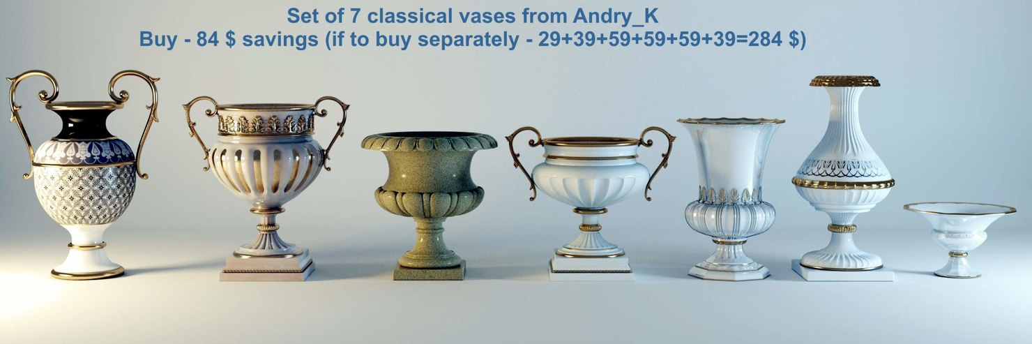 set 7 vase classical 3d model