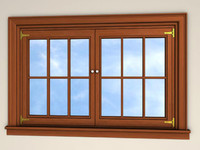 3d double french pane windows model