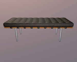 3d model bench leather seat