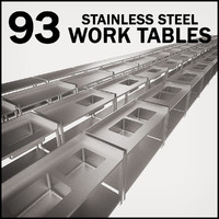 3d model work tables stainless steel