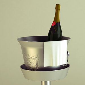 champagne bottle icing bucket 3d max
