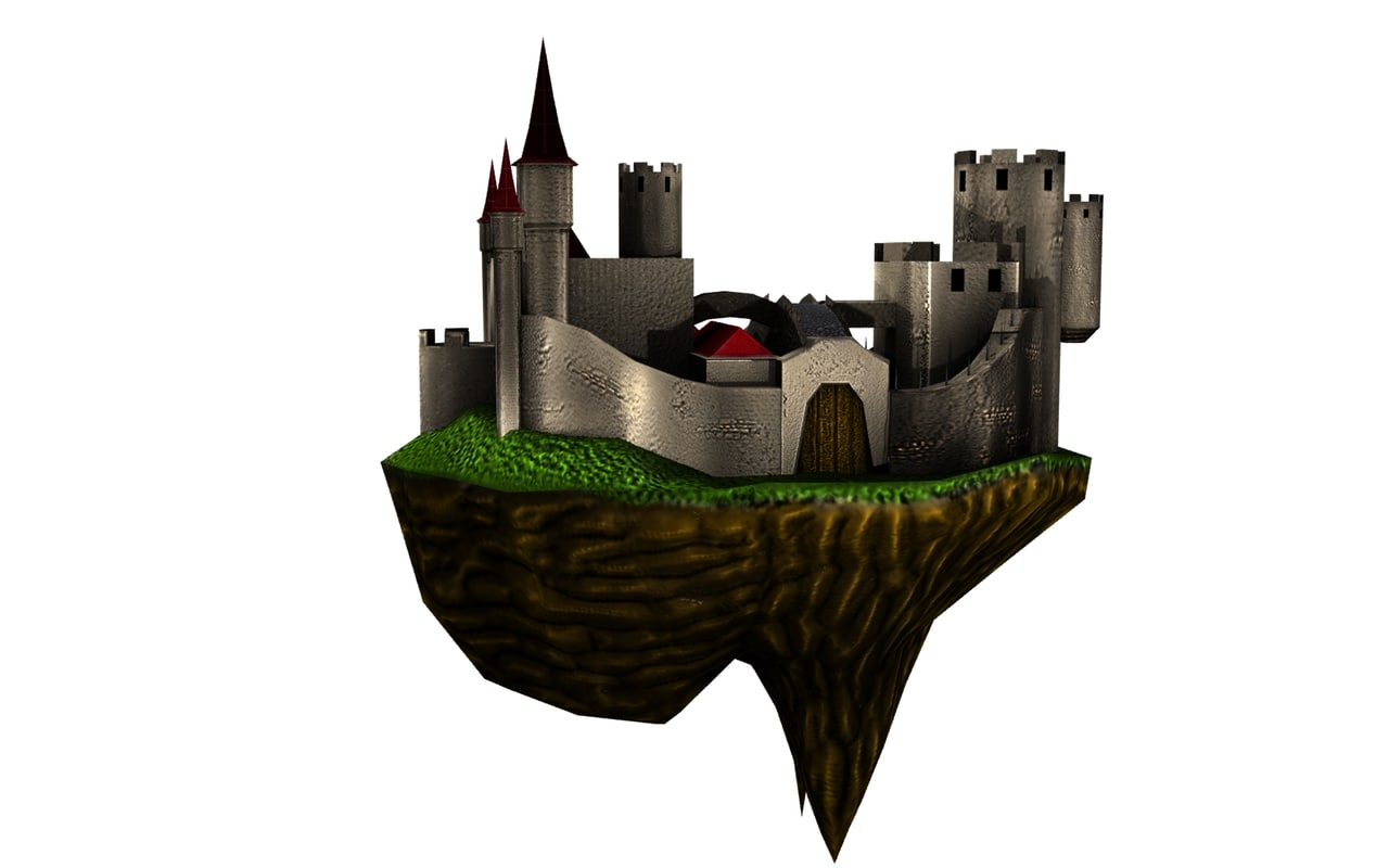 floating castle 3d obj