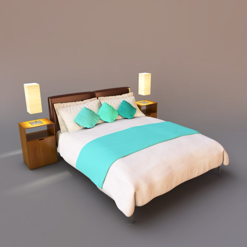 3d bed hotel model