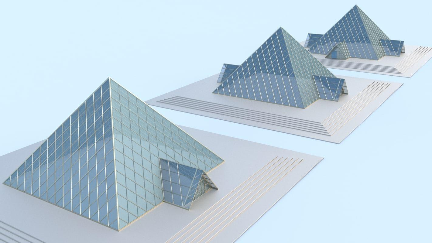 3d x small glass pyramid doors