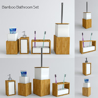 3d model bamboo bathroom set