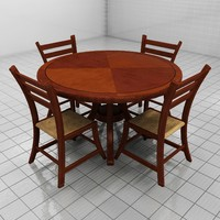 3d model dining room table chairs
