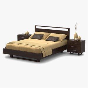 bed walnut wood 3d 3ds