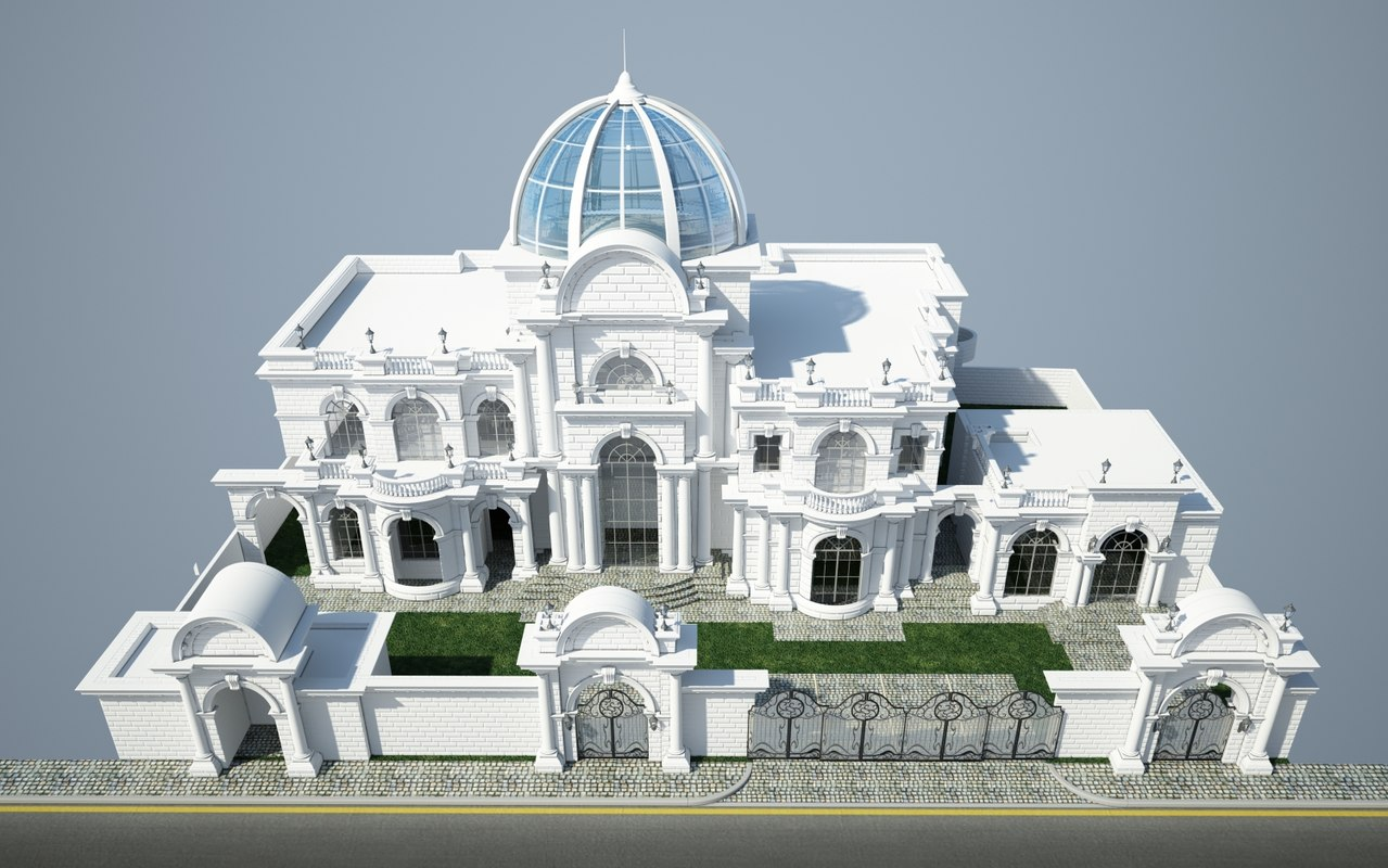 Classic villa 3d max for Classic house elevation