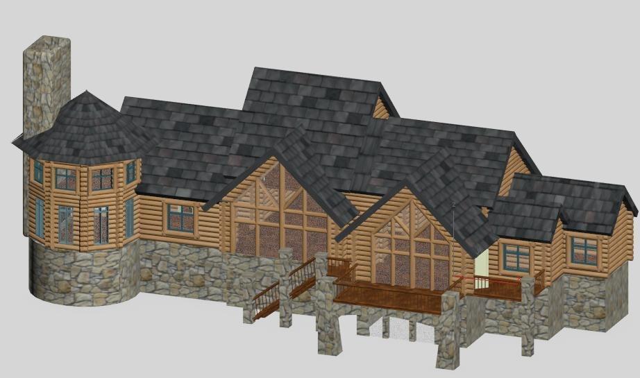 3d log home - timber