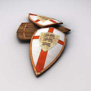 3d lionheart shield lion heart model
