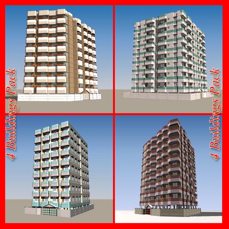 3d model of pack 4 apartment buildings