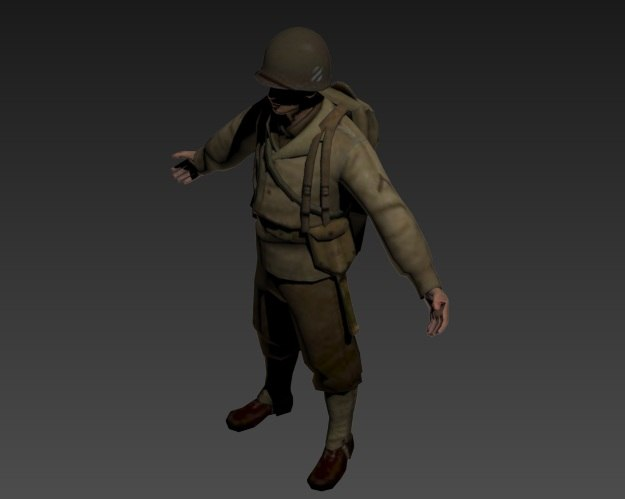 world war ii american soldier 3d model
