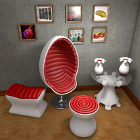 Space Age Design Furniture Suite Egg Chair
