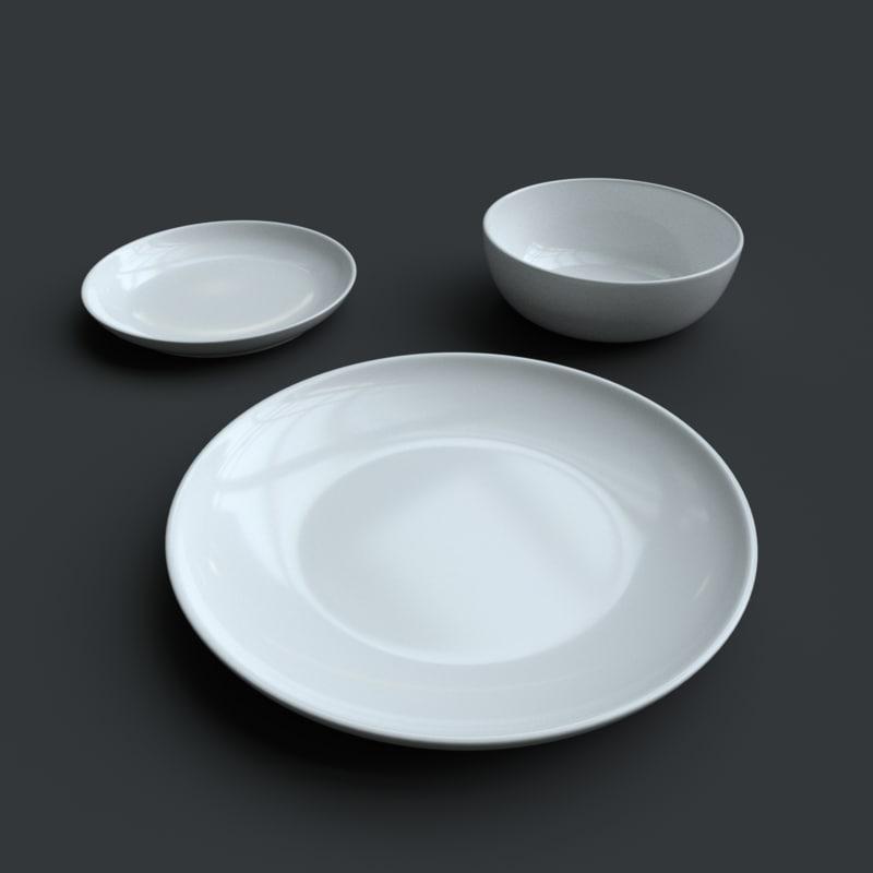 crockery plate bowl 3d model