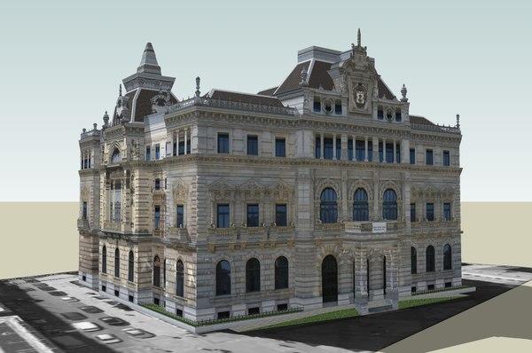 palace diputacion bizkaia 3d c4d