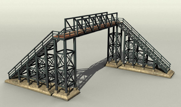 3d model of pedestrian railway bridge