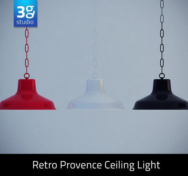 3d retro provence ceiling light model