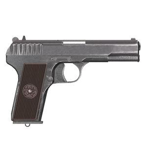 3d model russian pistol tokarev