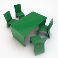 3d model plastic table chairs