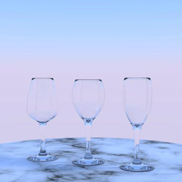 3d model of 3 wine glasses