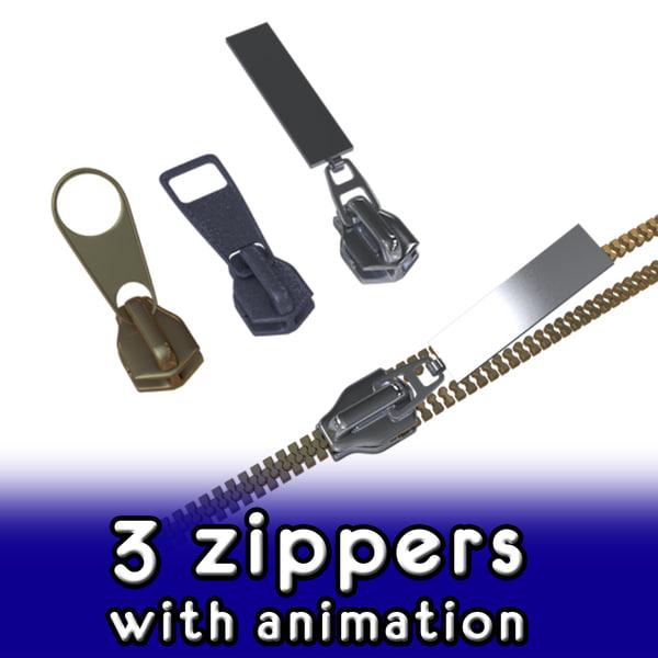 3d zippers zipping model