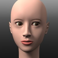 head asian girl 3d obj
