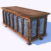 3d obj wooden cabinet