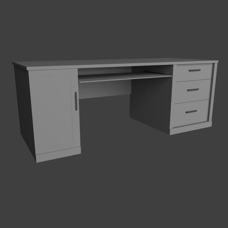 computer desk obj