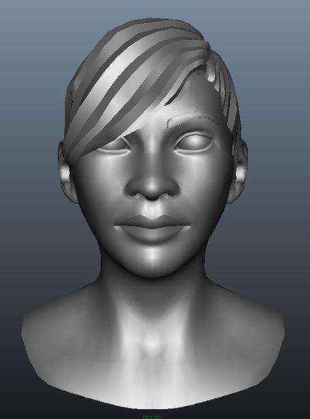 3d model of female head girl woman