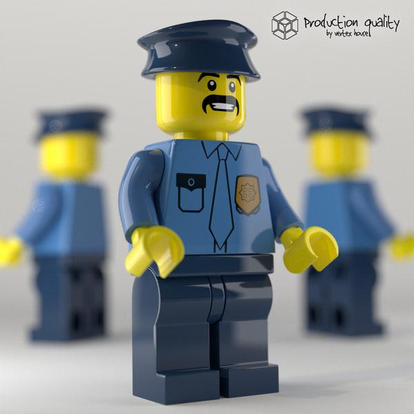 3d lego police figure model