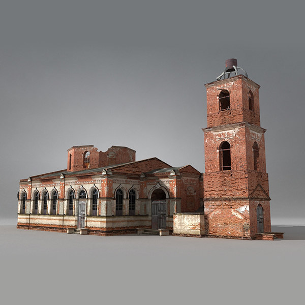 low-poly siberian church brick obj