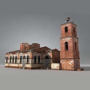low-poly siberian church brick obj