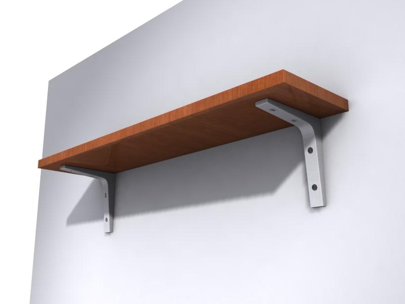 wooden shelving wall 3d model