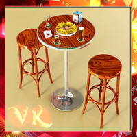 bar table stool beers 3d model