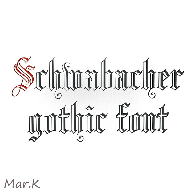 3d schwabacher gothic font