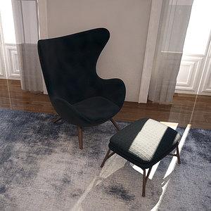 c4d modern chair ottoman