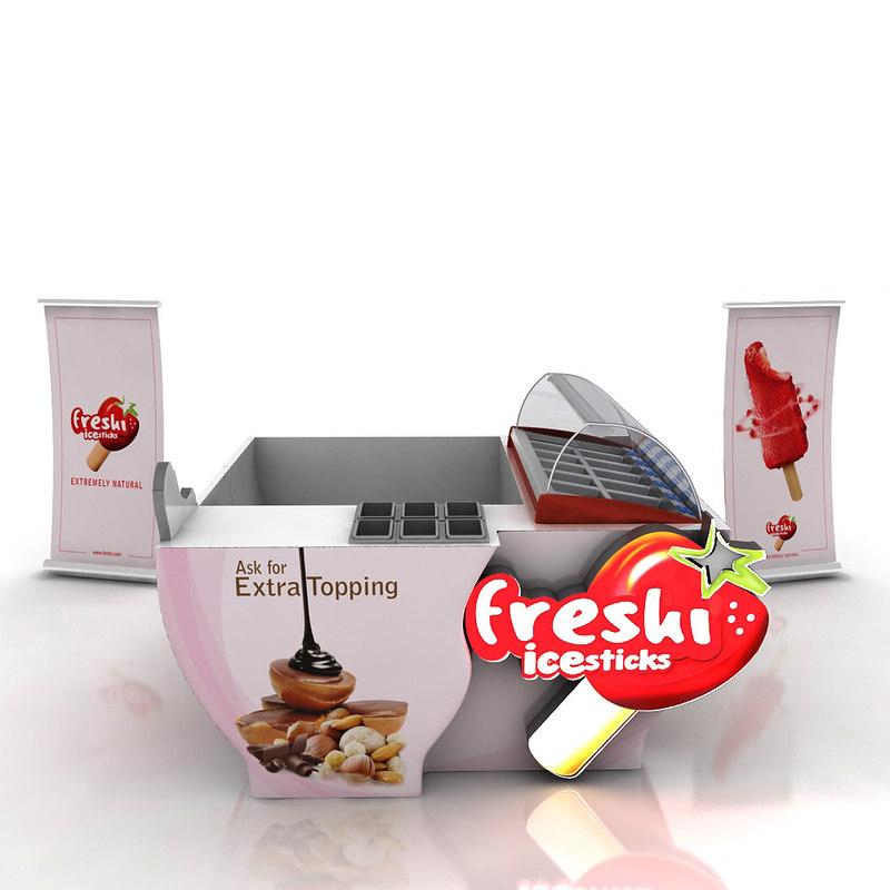 booth ice cream sticks 3d model