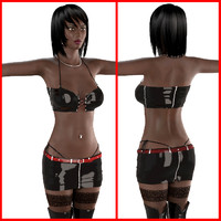 3ds max ebony female bikini