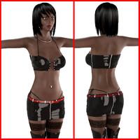 3ds max ebony female bikini