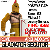 Props Set Poser Daz for Roman Gladiator Secutor
