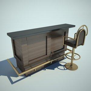 bar table chair 3d model