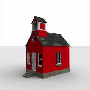 rural red schoolhouse 3d model