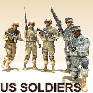 3d model soldiers m16 m4